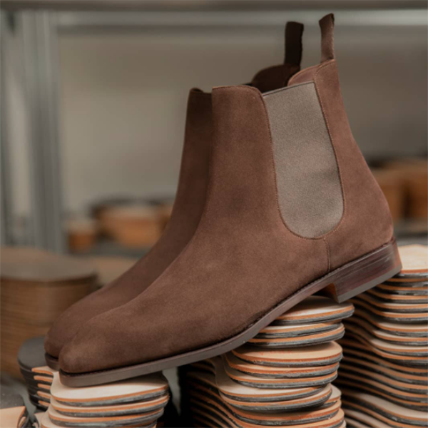 Brown Calf Suede Chelsea Boots
