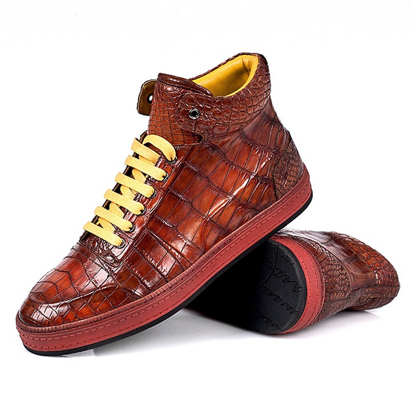 Casual Alligator Leather Chukka Sneaker Boot for Men
