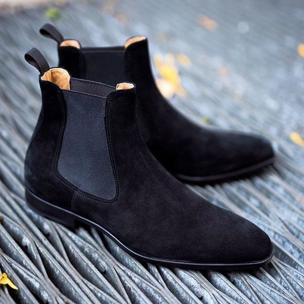Black Calf Suede Chelsea Boots