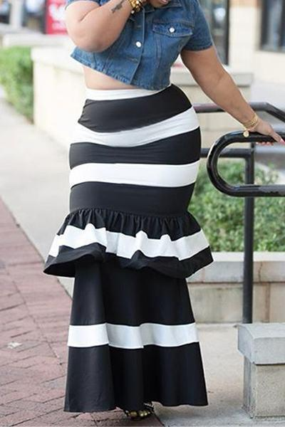 Black White Striped Slip Ruffle Maxi Skirt