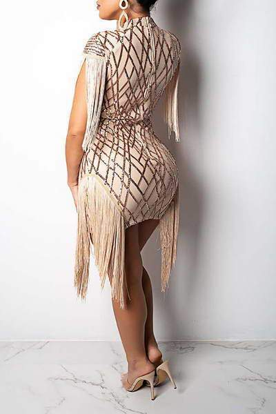 Fringed Sequin Short Women Dress