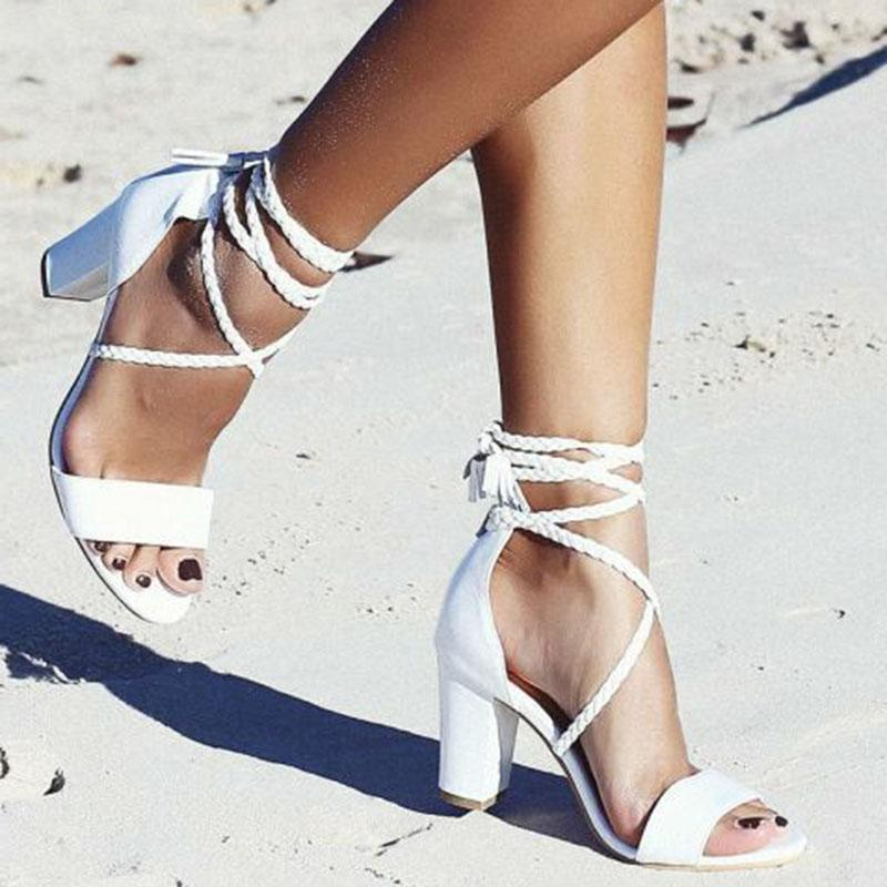 Block Heel Braided Sandal