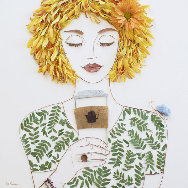"""But First, Coffee"" Flower Face Print"
