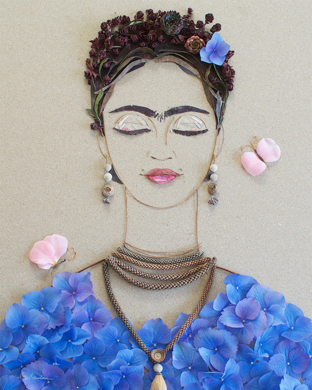 """Blue Frida"" Flower Print"