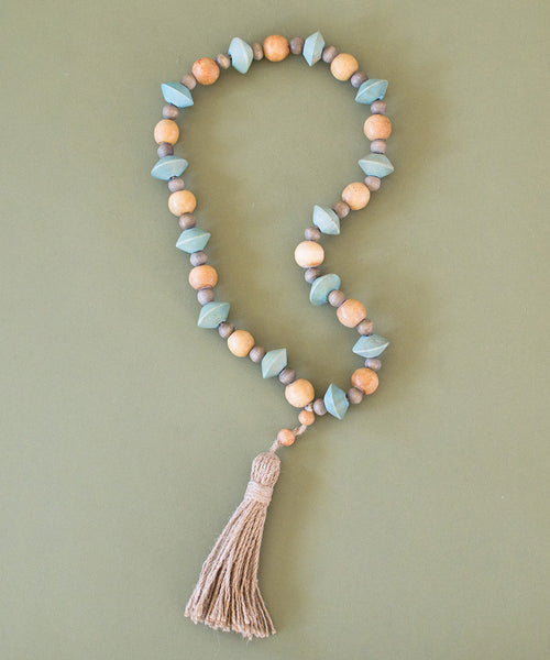 Tassel Wood Bead Strand - Sister Golden