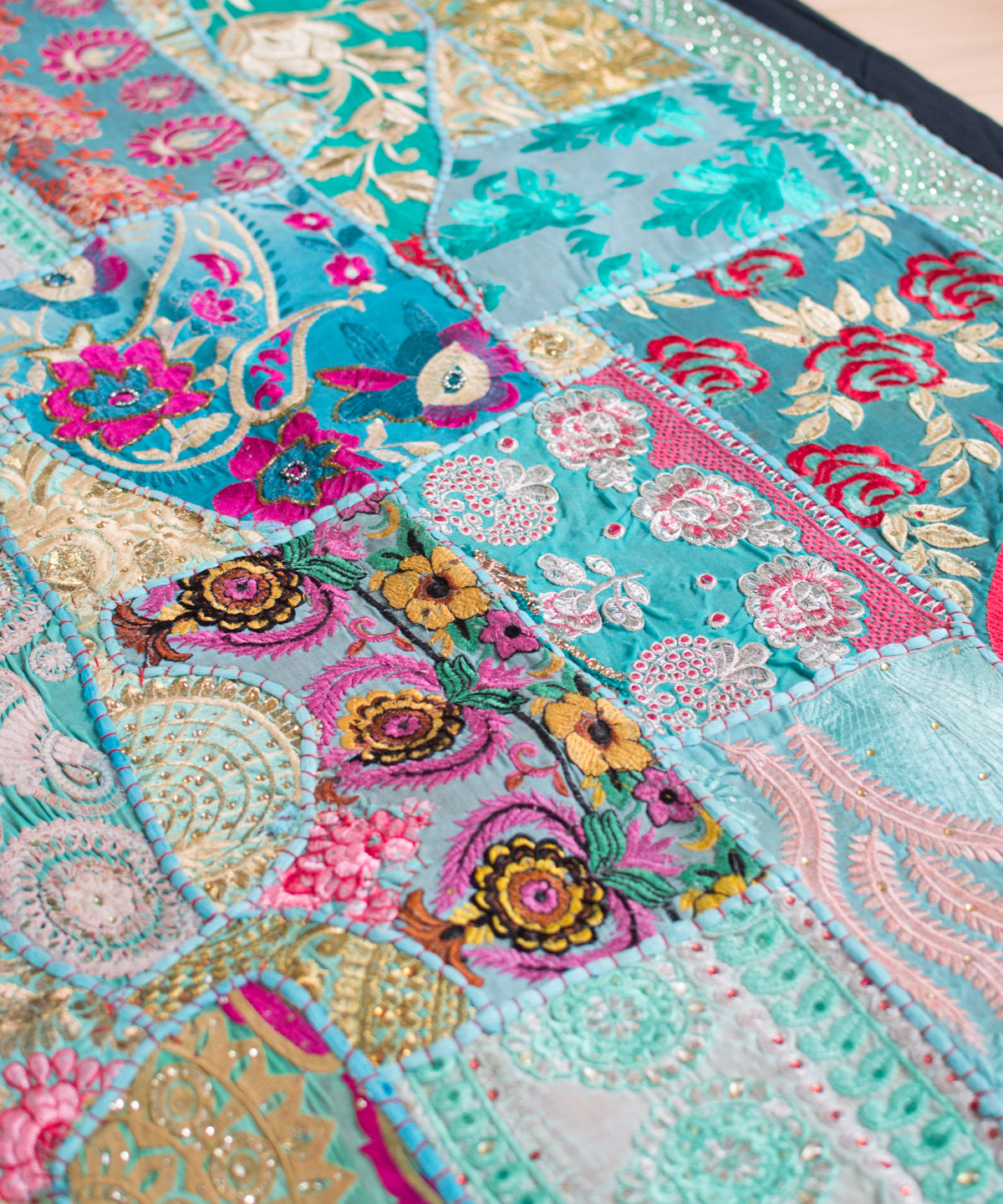 Embroidered Patchwork Bedspread III