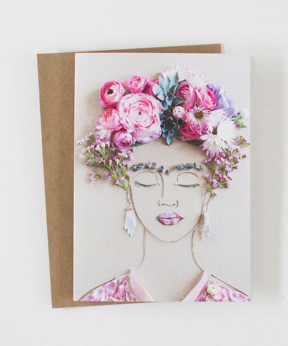 """Pink Frida"" Greeting Card"