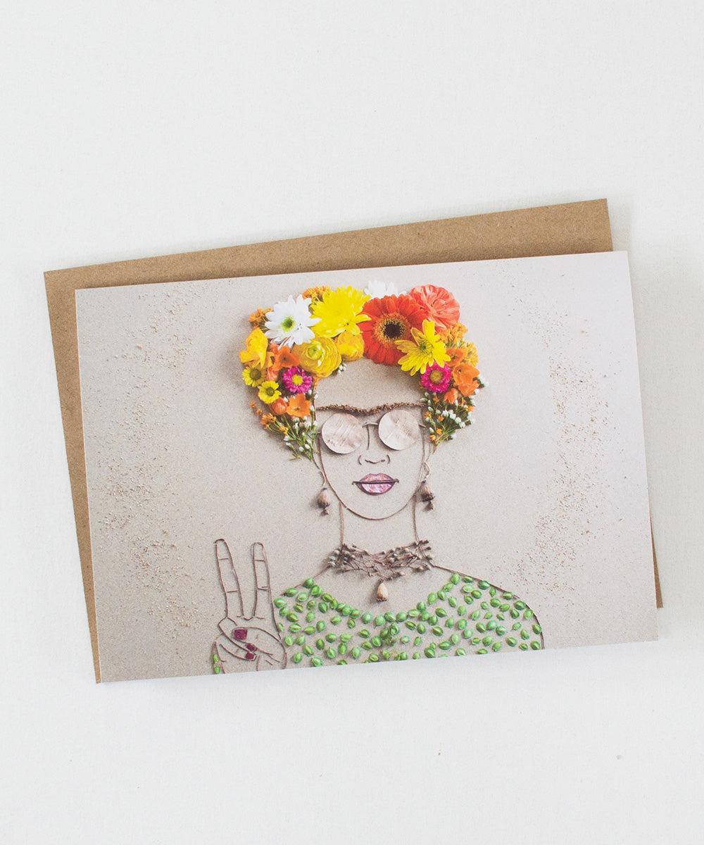 """Peace Frida"" Greeting Card - Sister Golden"