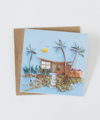 """Mid-Century Beach House"" Greeting Card - Sister Golden"