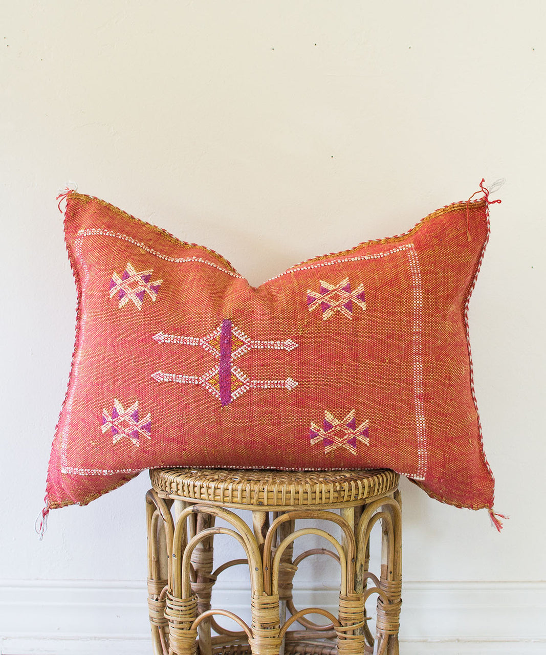 Vintage Red Silk Sabra Pillow II - Sister Golden