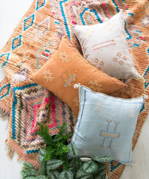 "Faded Denim ""Cactus Silk"" Pillow II"