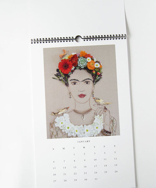 2019 wall calendar featuring Frida Kahlo flower prints