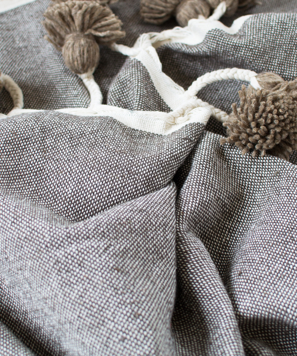 Perfect Taupe Moroccan Pom Pom Blanket