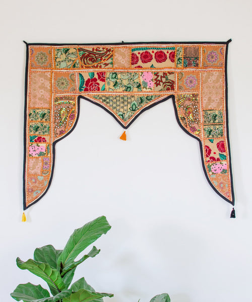 Embroidered Patchwork Window Hanging IV