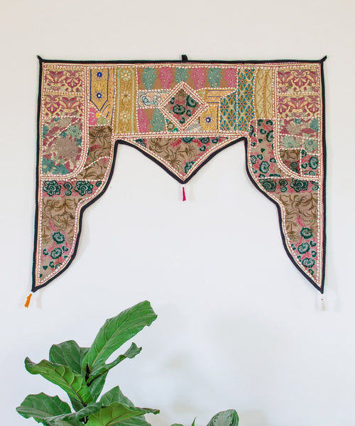 Embroidered Patchwork Window Hanging VI