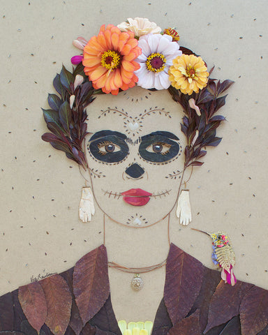 """Day of the Dead Frida"" Flower Print - Sister Golden"