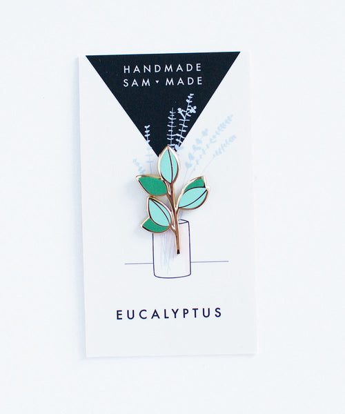 Eucalyptus Branch Pin - Sister Golden