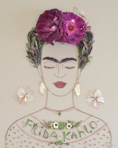 """Frida Kahlo"" Flower Print - Sister Golden"