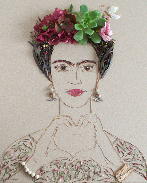 """Choose Love Frida"" Flower Face Print"