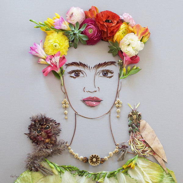 """Frida & Pets"" Flower Face Print"