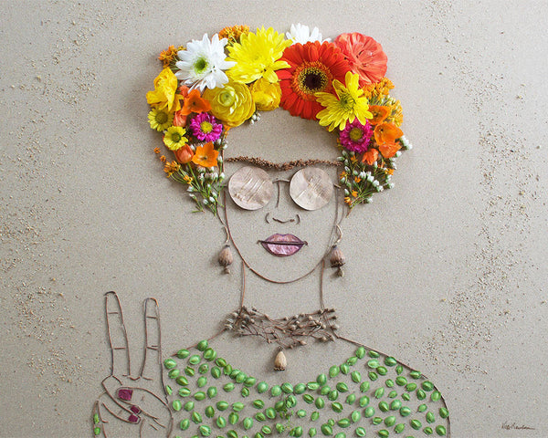 """Peace Frida"" Flower Face Print"