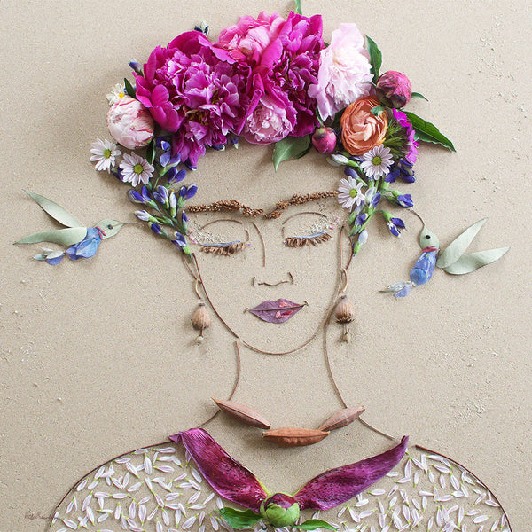 """Frida & The Hummingbirds"" Flower Face Print"