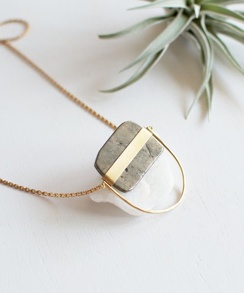 Freeform Pyrite Arc Necklace