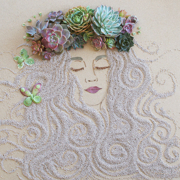 """Succulent Fairy"" Flower Face Print"