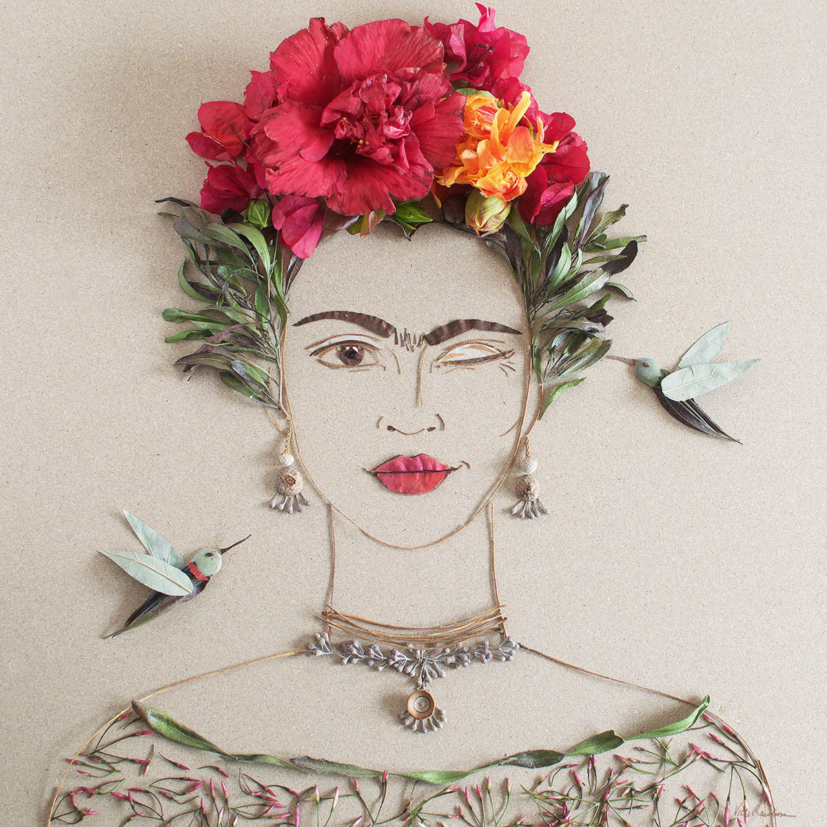 """What Would Frida Do?"" Flower Face Print"