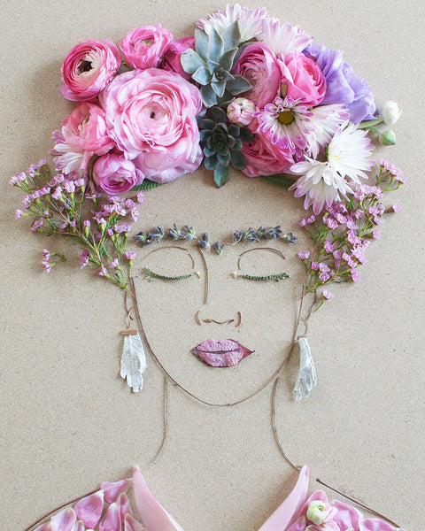 """Pink Frida"" Flower Face Print - Sister Golden"