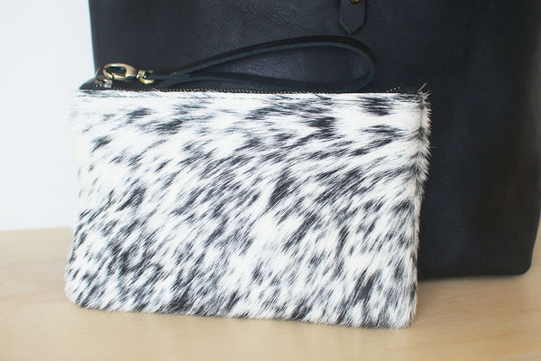 Salt + Pepper Cowhide Clutch