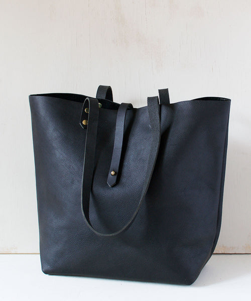 Black Leather Cross Strap Tote