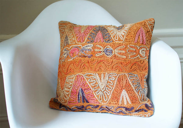 Embroidered Kilim Pillow III