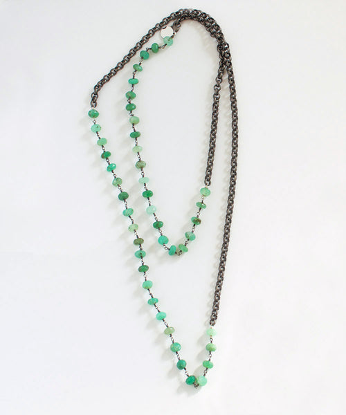 3-In-1 Necklace - Chrysoprase & Silver