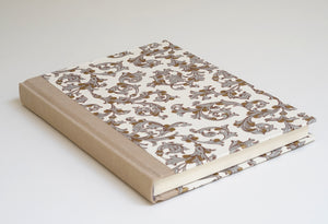 Elegant Grey and Gold Florentine Notebook with Oatmeal Spine