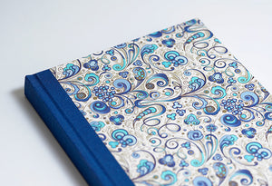 Rich Blue Florentine Notebook with Turquoise Spine
