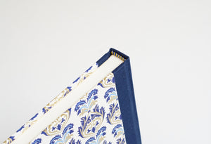 Blue Brocade Patterned Notebook with A Navy Spine