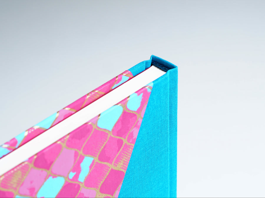 Hot Pink, Turquoise & Gold Notebook with Turquoise Spine