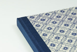 Italian Blue Patterned Notebook with Navy Spine