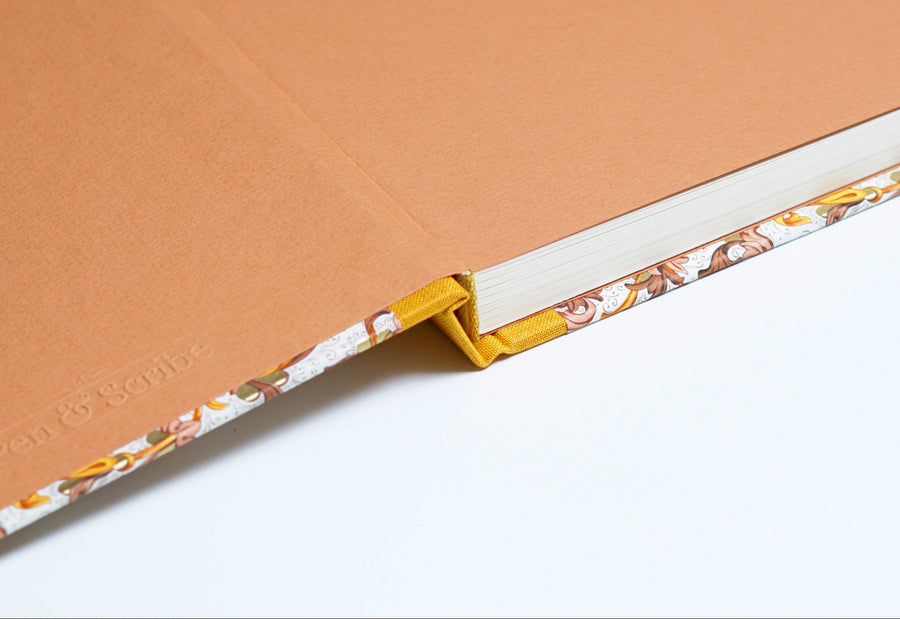 Italian Floral Peach Notebook with Ochre Spine