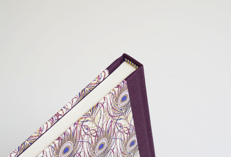 Peacock Feather Pattern Notebook with Purple Spine
