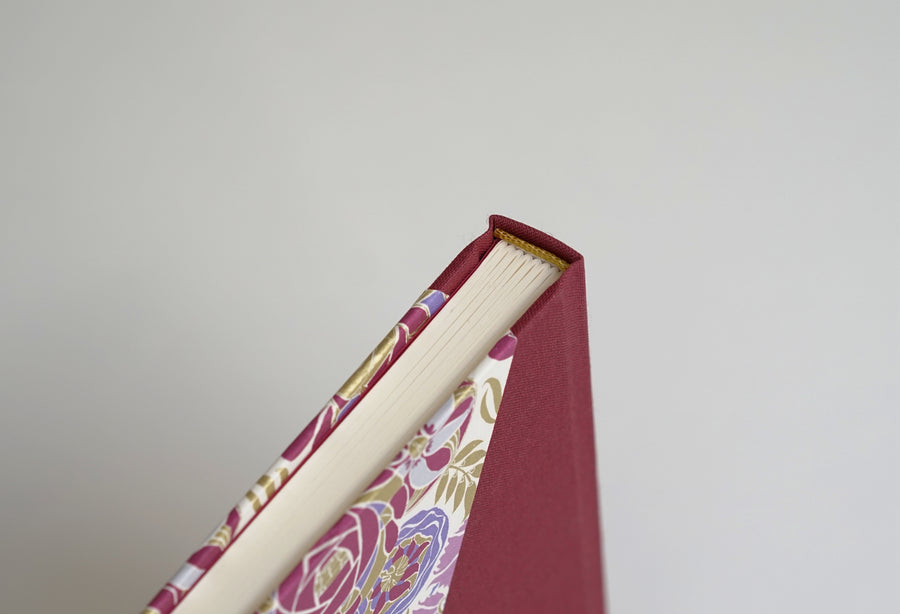 Burgundy Liberty Flowers Pattern Notebook with Burgundy Spine