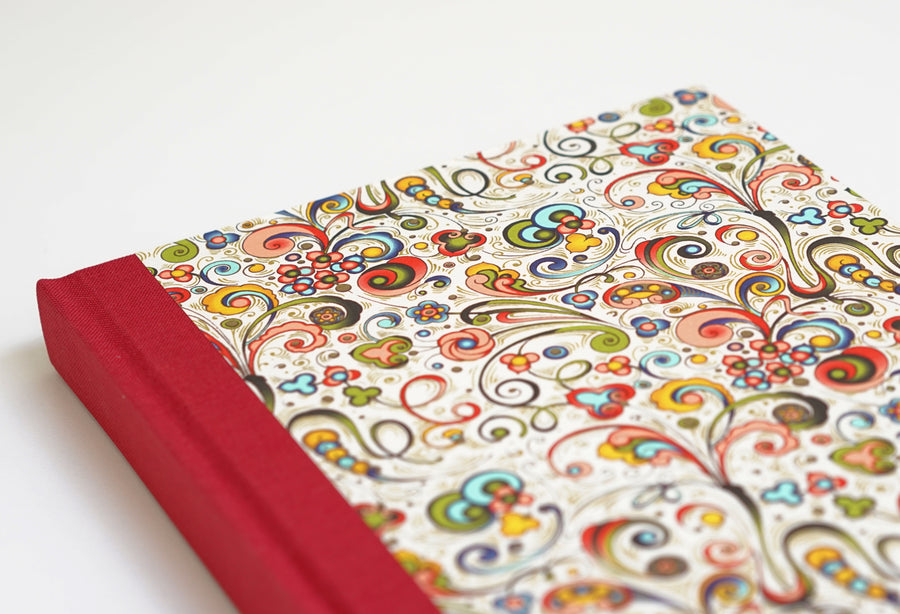 Multicoloured  Flower Pattern Notebook with Crimson Spine
