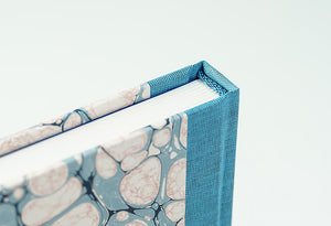 Pink & Grey Marbled Notebook with Turquoise Spine
