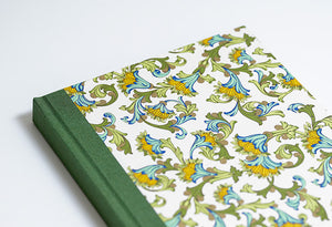 Green and Gold Florentine Notebook with Olive Green Spine