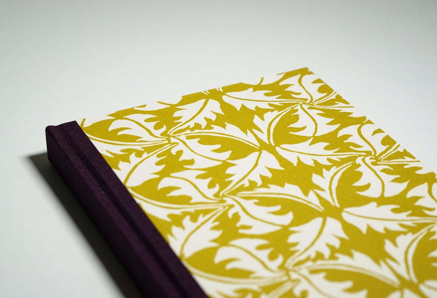 yellow leaf patterned notebook cover