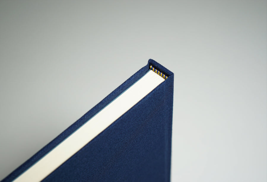top of navy linen fabric notebook