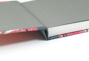 Pink and Grey Marbled Notebook with Dark Grey Spine