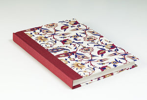 Purple, Magenta, Peach and Cream Notebook with Red Spine