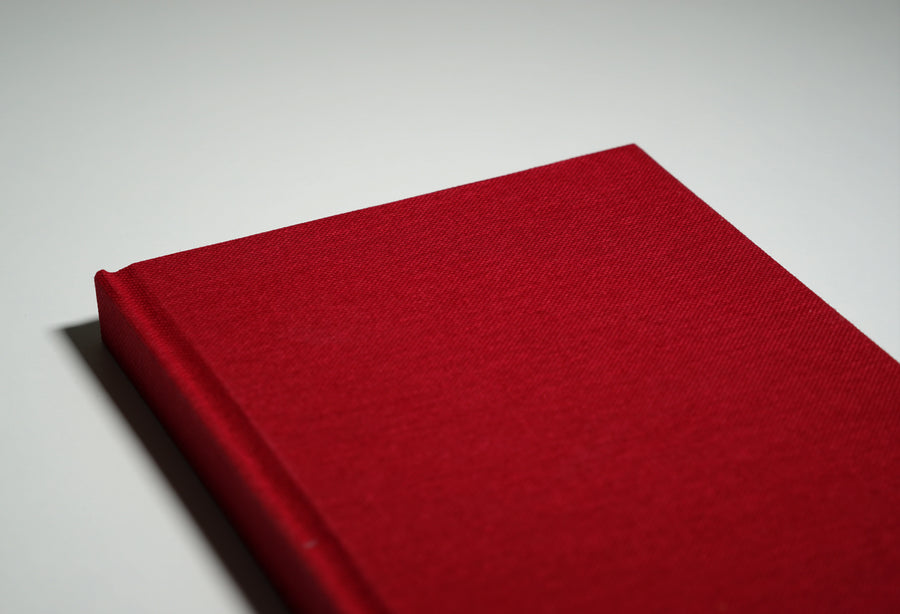 red linen fabric notebook cover